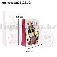 Пакет подарочный M(26х32) 3D иллюстрация для детей с блестками белого цвета с единорогом