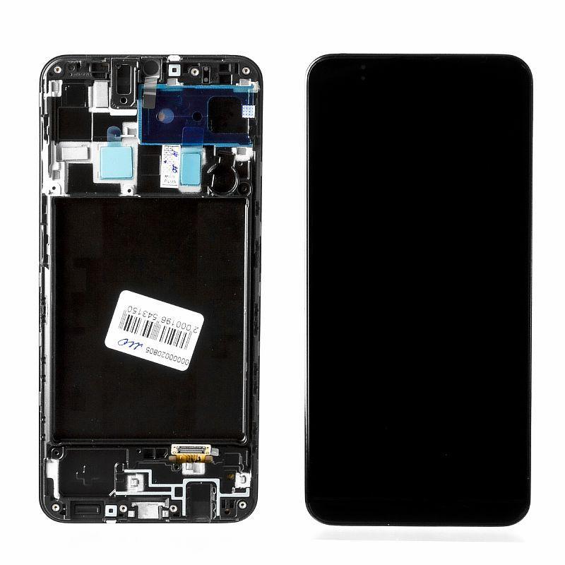 Дисплей Samsung Galaxy A20 A205 в сборе с рамкой Service Pack, Black