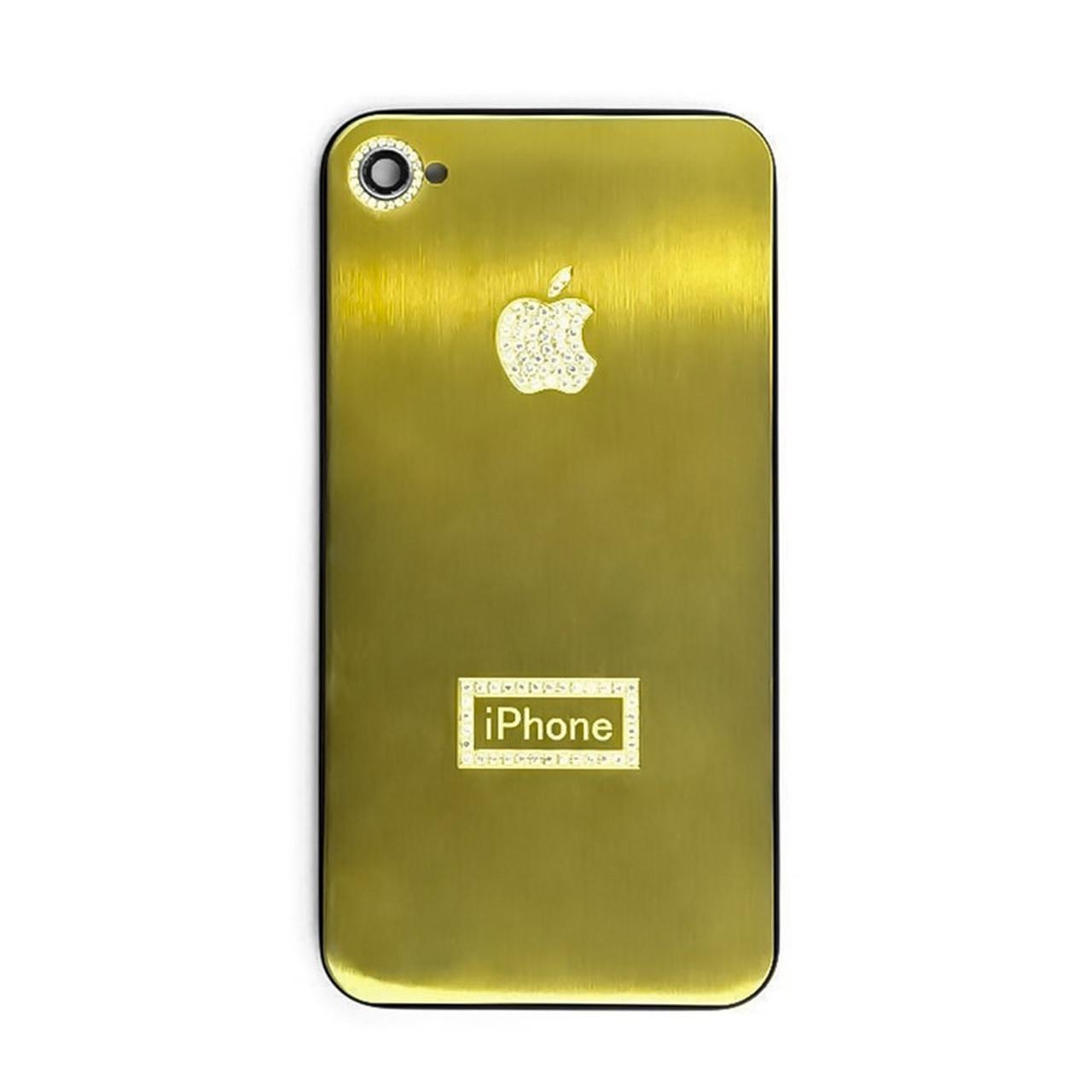 Задняя крышка Apple iPhone 4G cristal Gold/Black (69)