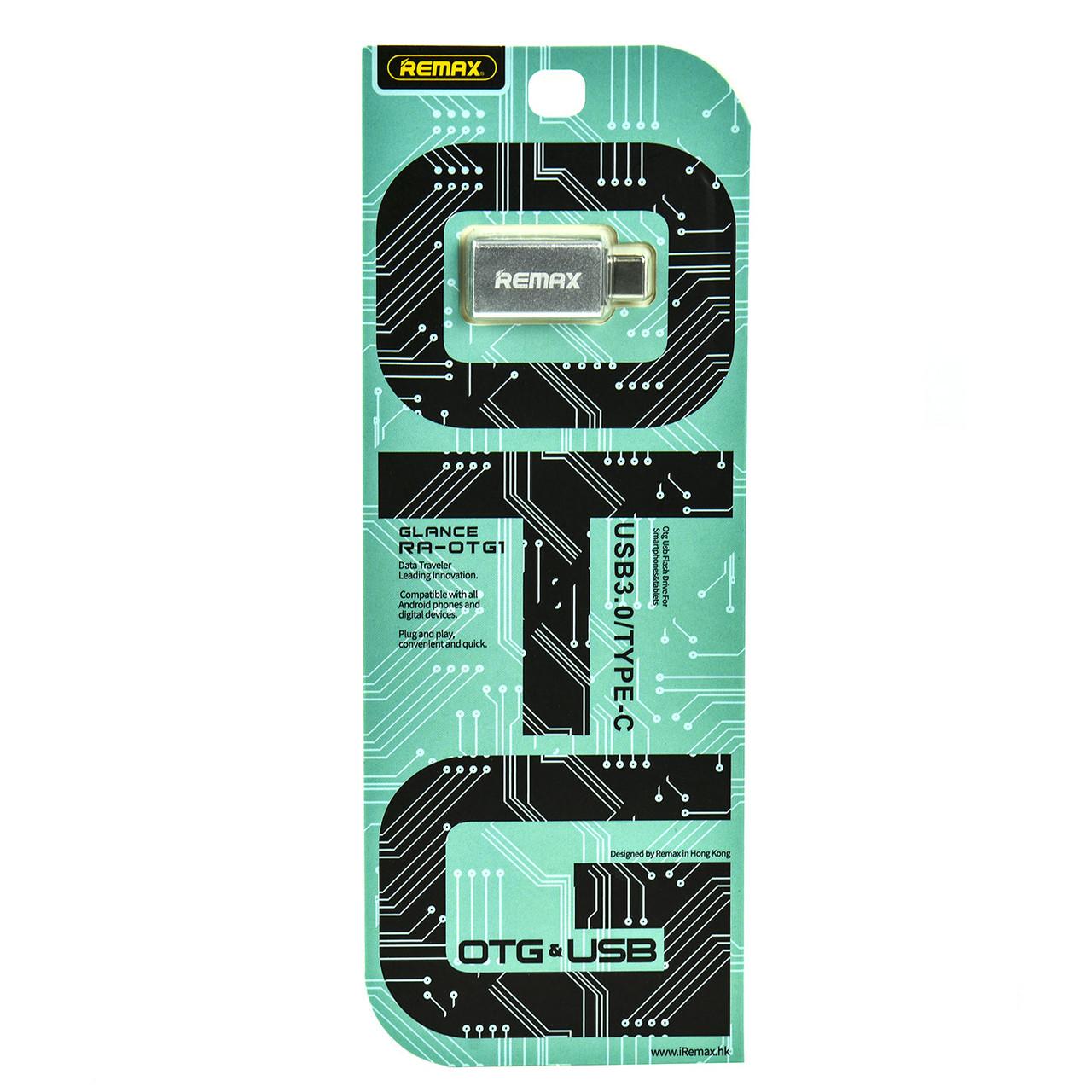 Переходник Type-C Male to USB Female Adapter Converter Remax RA-OTG1 Silver