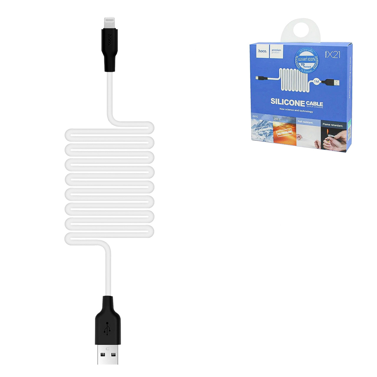 Кабель Apple lightning Hoco X21 Silicone 1.0m, White