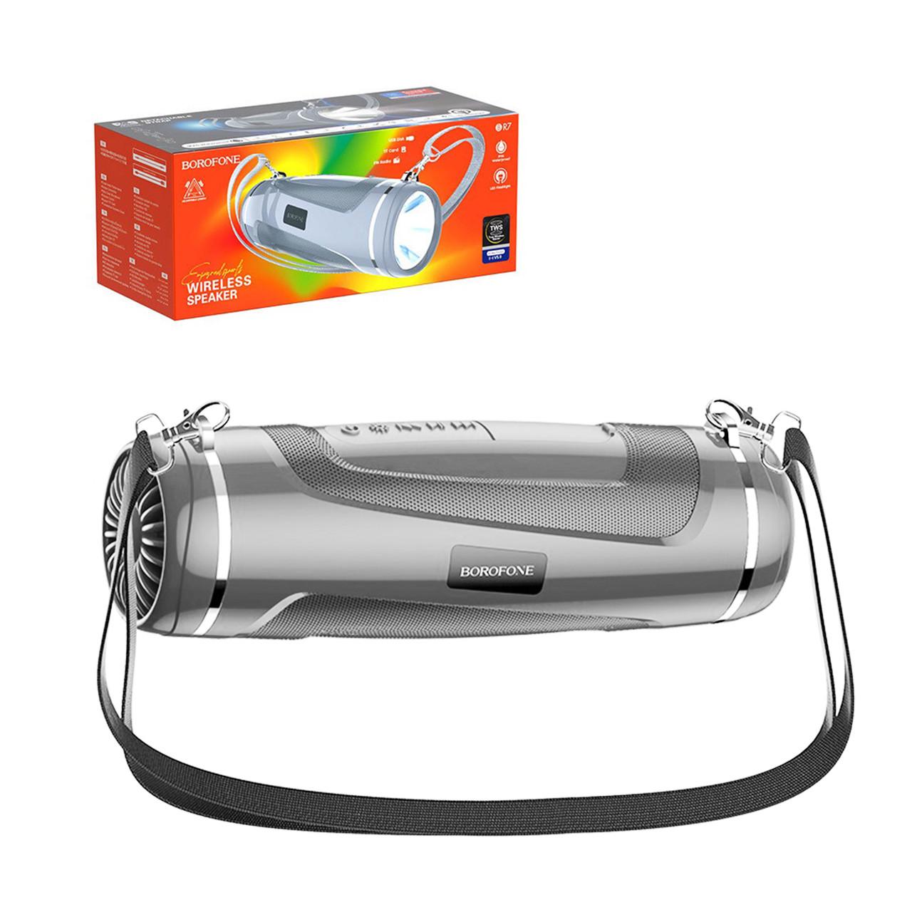 Портативная акустическая система Bluetooth Borofone BR7 Led Flashlight IPX5, Gray