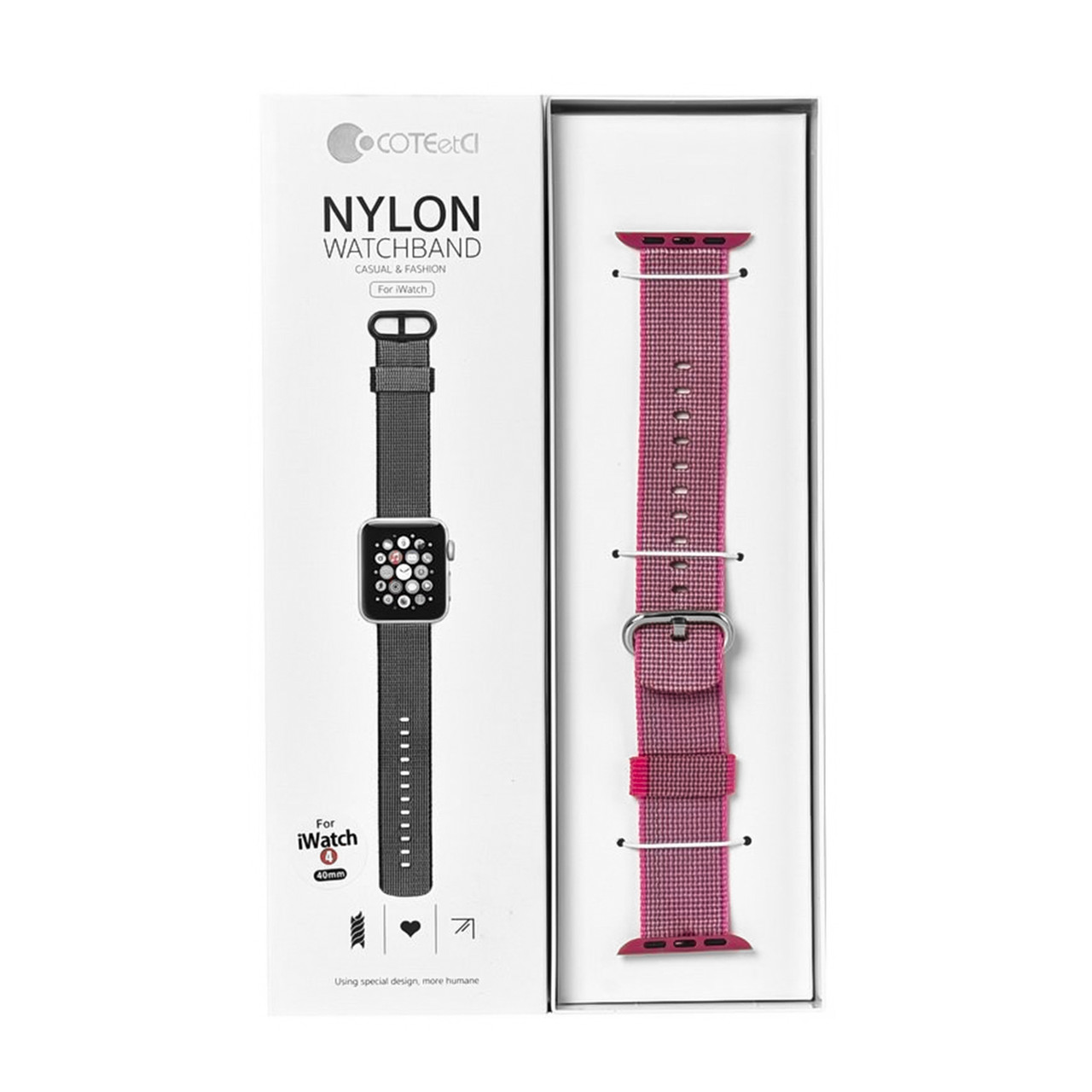 Ремешок For Apple Watch 38mm/40mm COTEetCI W11 WH5213-PK Nylon Pink
