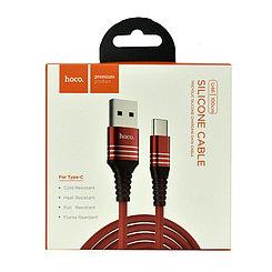 Кабель Type-C Hoco U46 Silicone Cable 1.m , Red