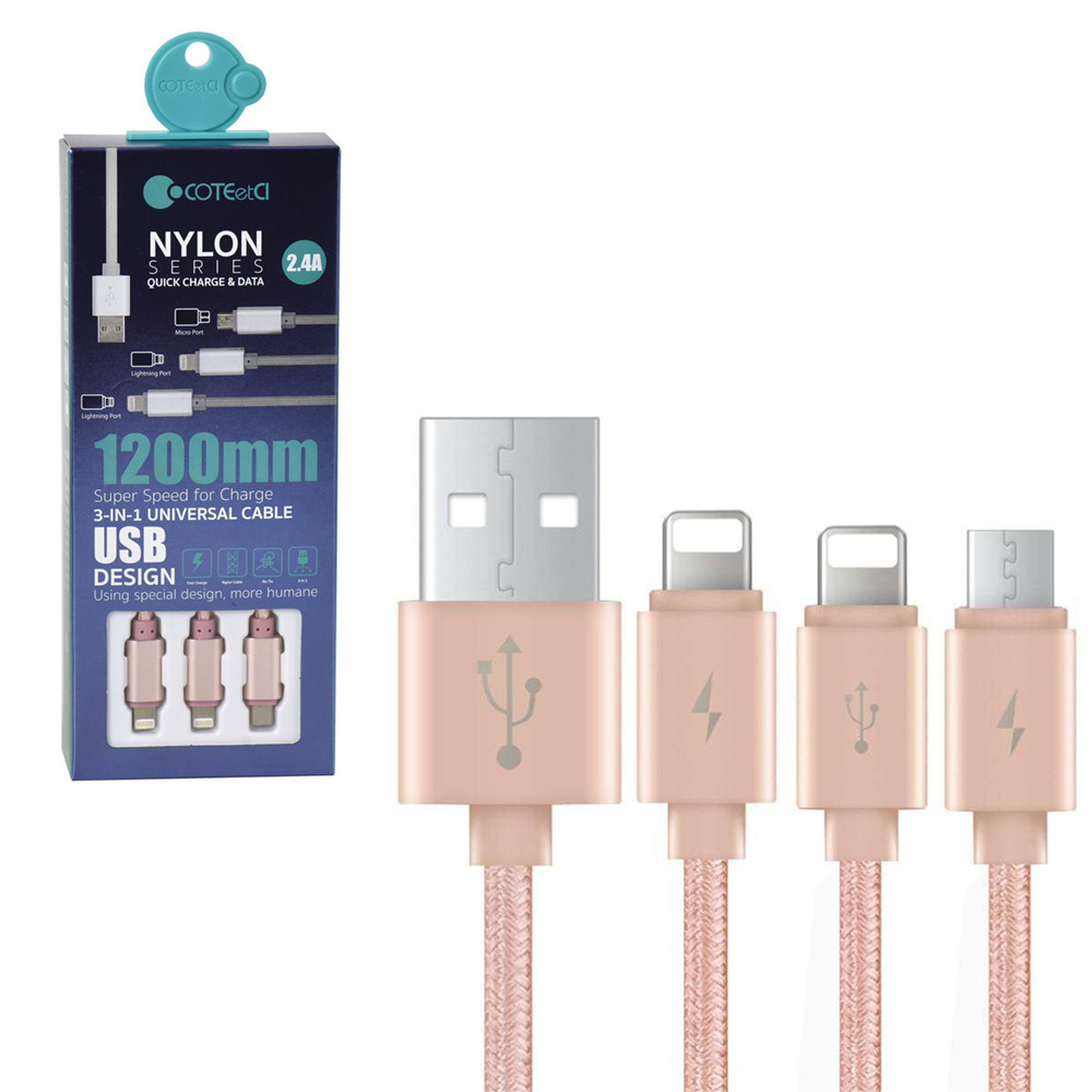 Кабеля (Lightning/Lightning/Micro-USB) COTEetCI Nylon Series M8 CS2110-MRG 2.4A 1.2m Rose Gold