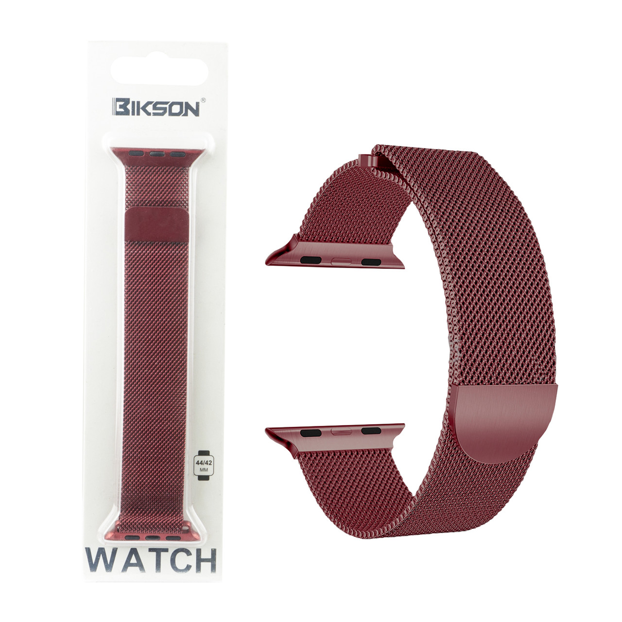 Ремешок For Apple Watch 42mm/44mm Bikson Magnetic Milanese Loop, Cherry