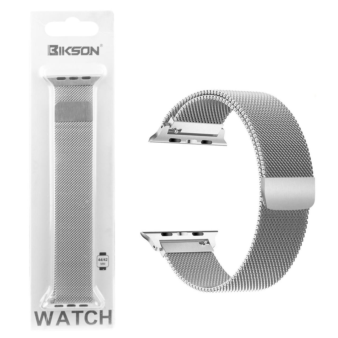 Ремешок For Apple Watch 42mm/44mm Bikson Magnetic Milanese Loop, Silver