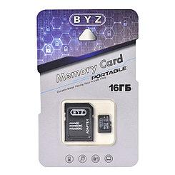 Карта памяти Micro SD 16Gb BYZ class 10, c адаптером