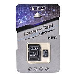 Карта памяти Micro SD 2Gb BYZ, c адаптером