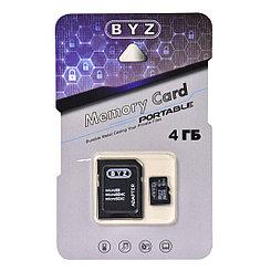 Карта памяти Micro SD 4Gb BYZ class 6, c адаптером