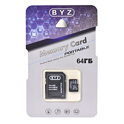 Карта памяти Micro SD 64Gb BYZ class 10, c адаптером