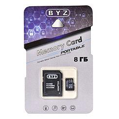 Карта памяти Micro SD 8Gb BYZ class 10, c адаптером