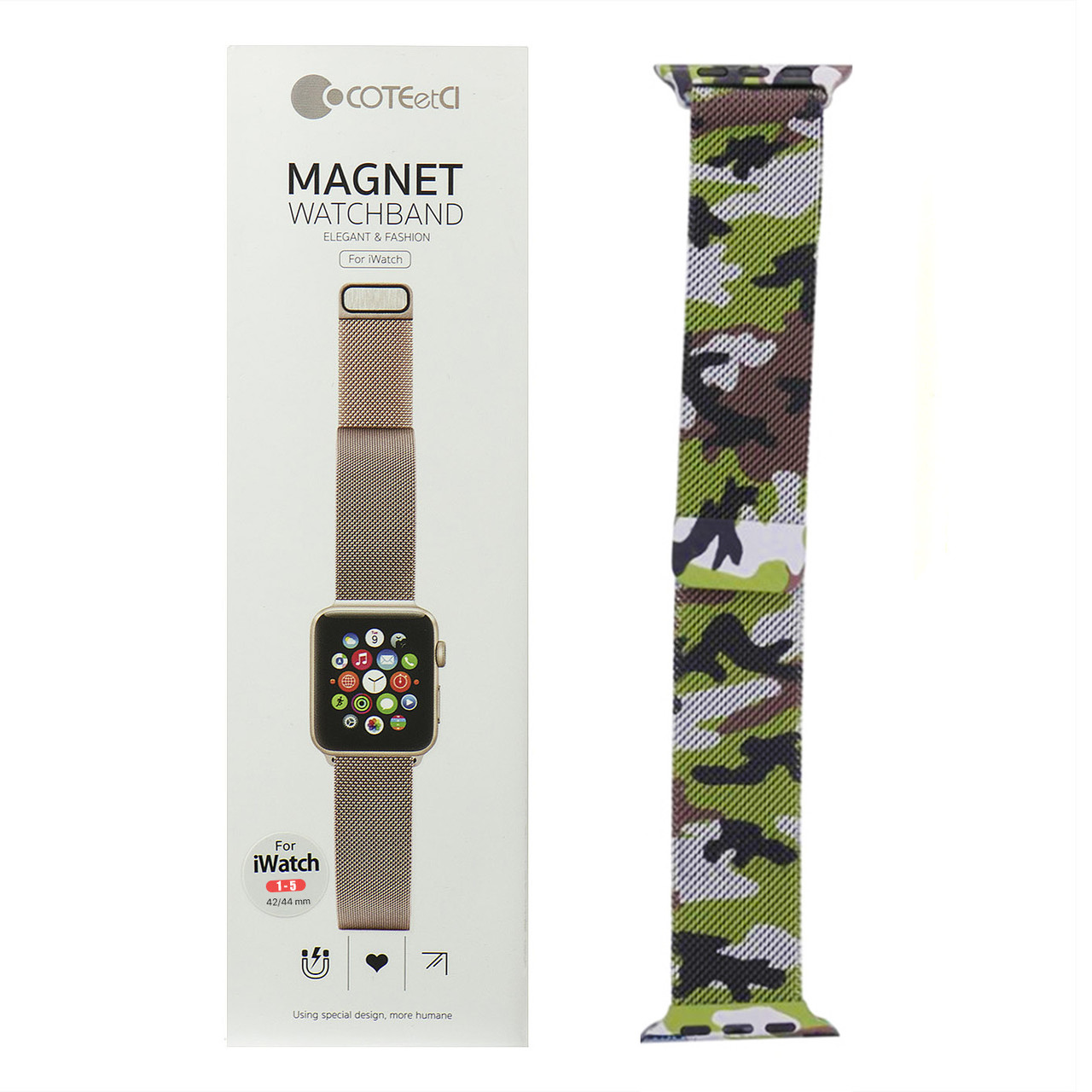 Ремешок For Apple Watch 42mm/44mm COTEetCI W6 WH5203-CL Magnet Band, Camouflage Green/Black