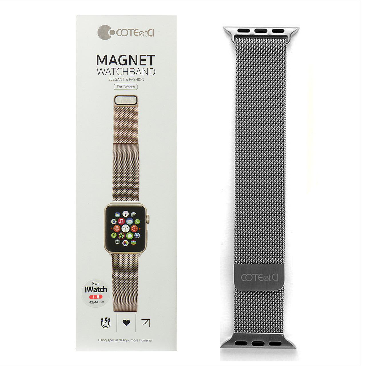 Ремешок For Apple Watch 42mm/44mm COTEetCI W6 WH5203-GY Magnet Band Gray