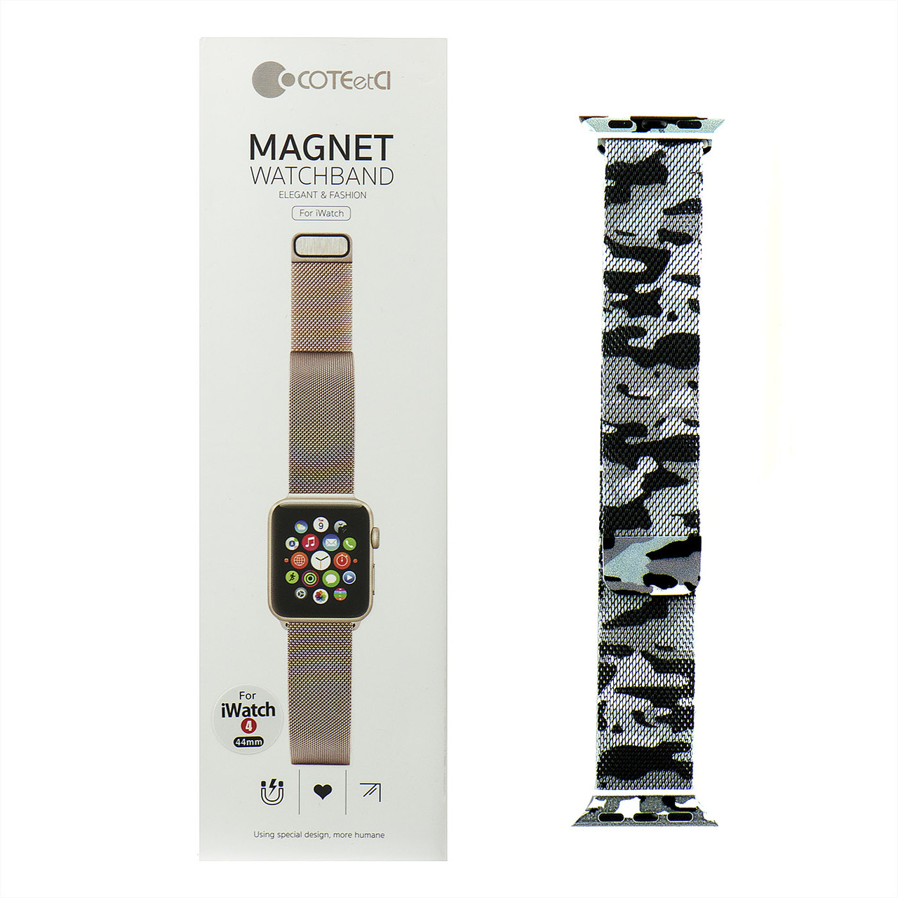 Ремешок For Apple Watch 42mm/44mm COTEetCI W6 WH5203-TK Magnet Band, Camouflage Gray/Black