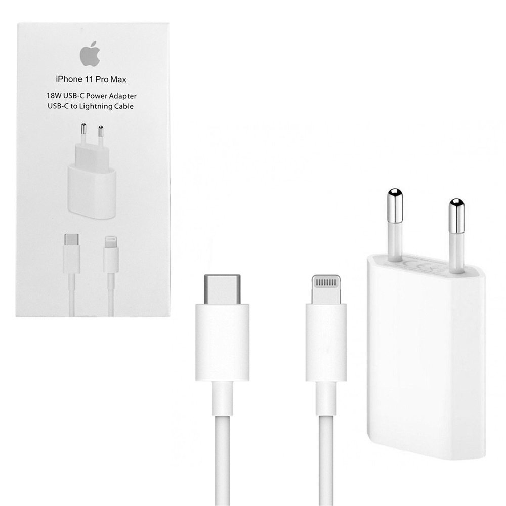 Сетевое зарядное устройство Apple MUV2ZM/A 18W с кабелем Lightning Copy , White