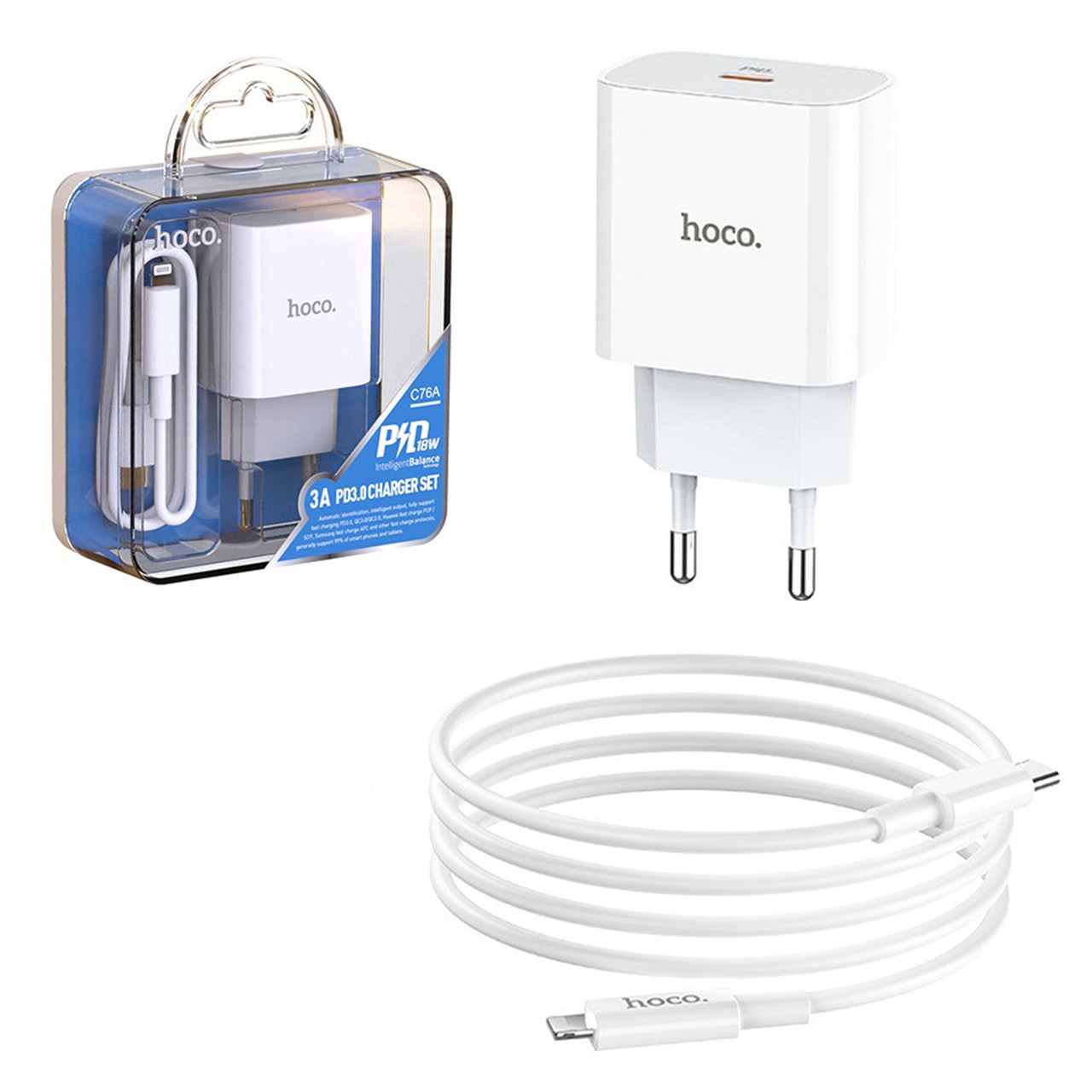 Сетевое зарядное устройство Hoco C76A + кабель Lightning PD 18W, White