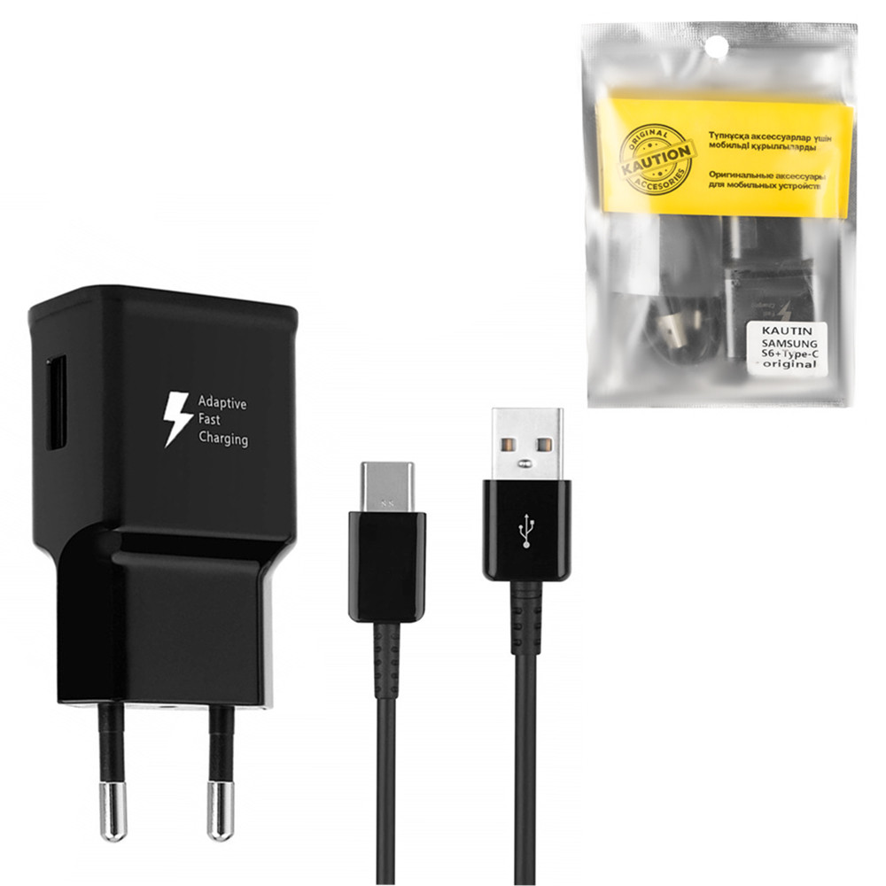 Сетевое зарядное устройство Samsung Caution Alfa 9V-1.6A/5V-2A 1USB c кабелем Type-C Black