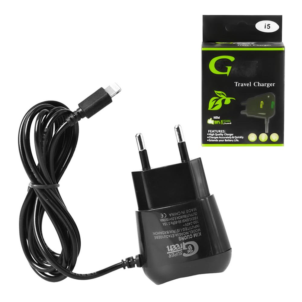 Сетевое зарядное устройство Super Green IPhone 5/6 50V=1500mA