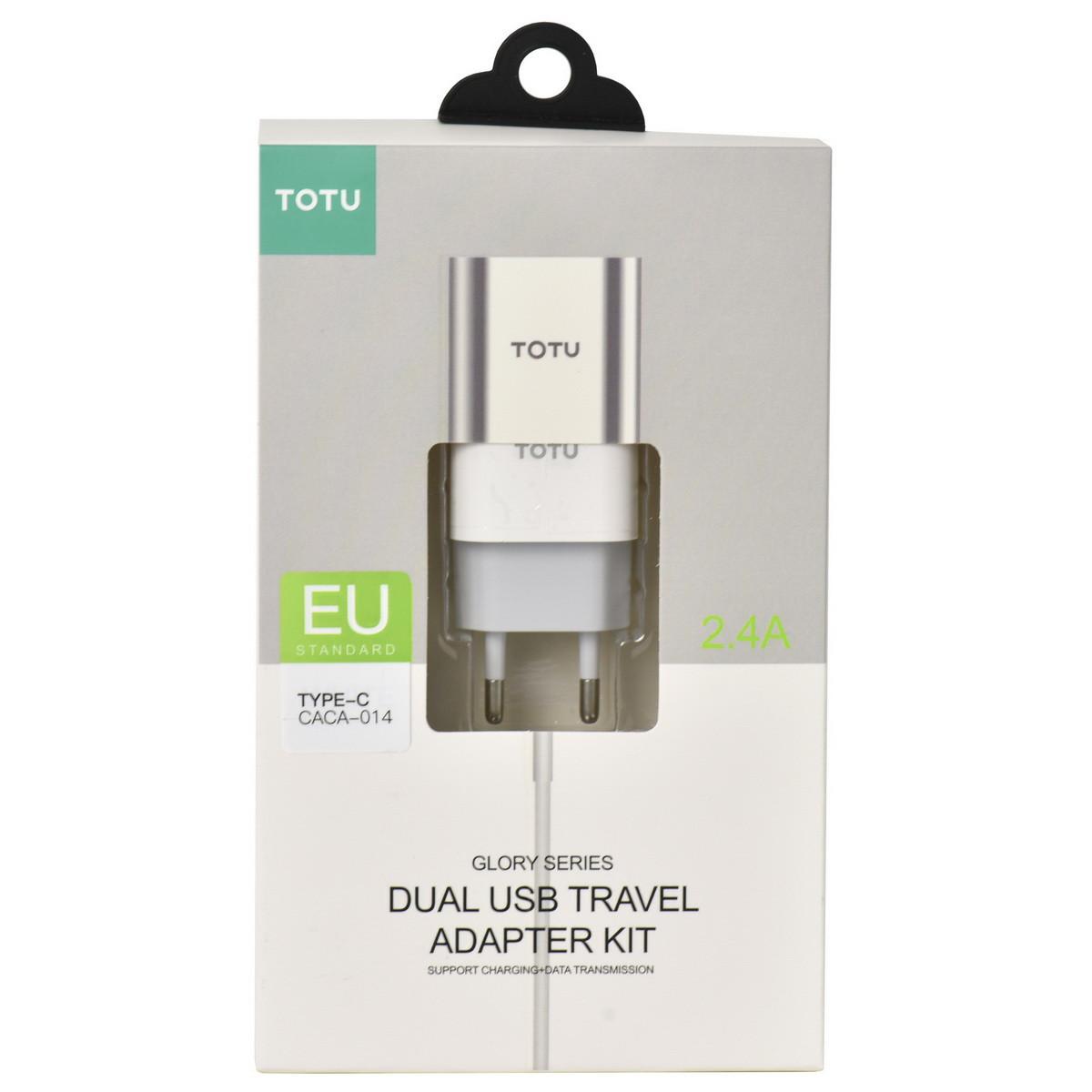Сетевое зарядное устройство Totu Glory Series CACA-014 2XUSB 2.4A с кабелем Type-C White