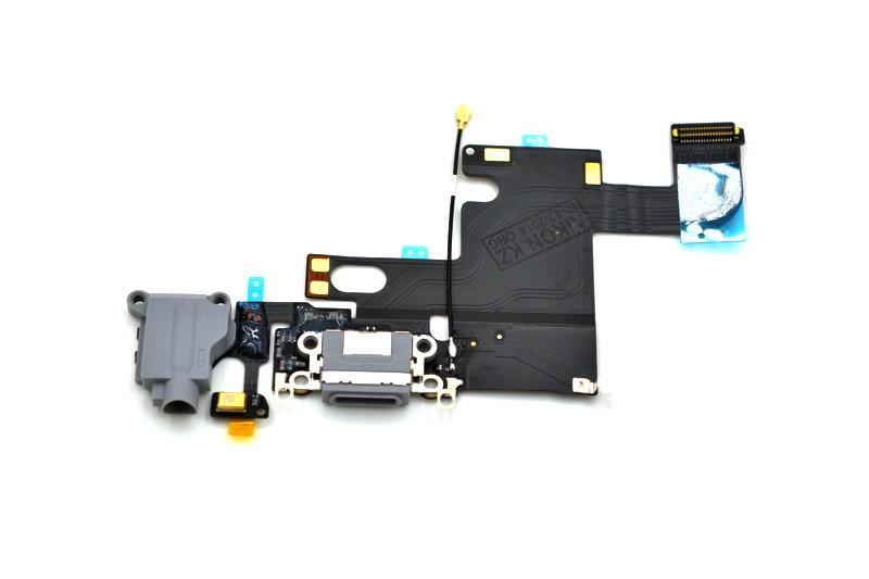 Шлейф Apple iPhone 6G с коннектором заряда и разъемом гарнитуры Gray (50)