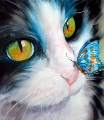 """Картины стразами на подрамнике """"Котенок и бабочка"""" 20х20см"""