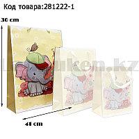 Пакет подарочный L(30х41) 3D иллюстрация для детей с блестками желтого цвета со слоненком