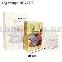 Пакет подарочный M(26х32) 3D иллюстрация для детей с блестками желтого цвета со слоненком