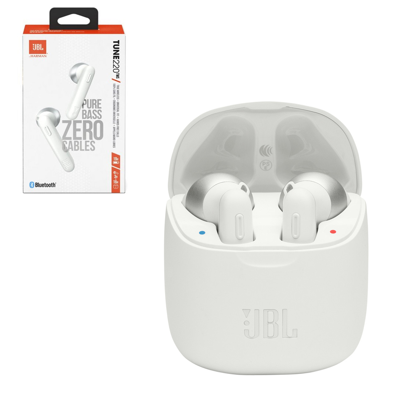 Bluetooth гарнитура JBL Tune220TWS Pure Bass Zero Cables, White