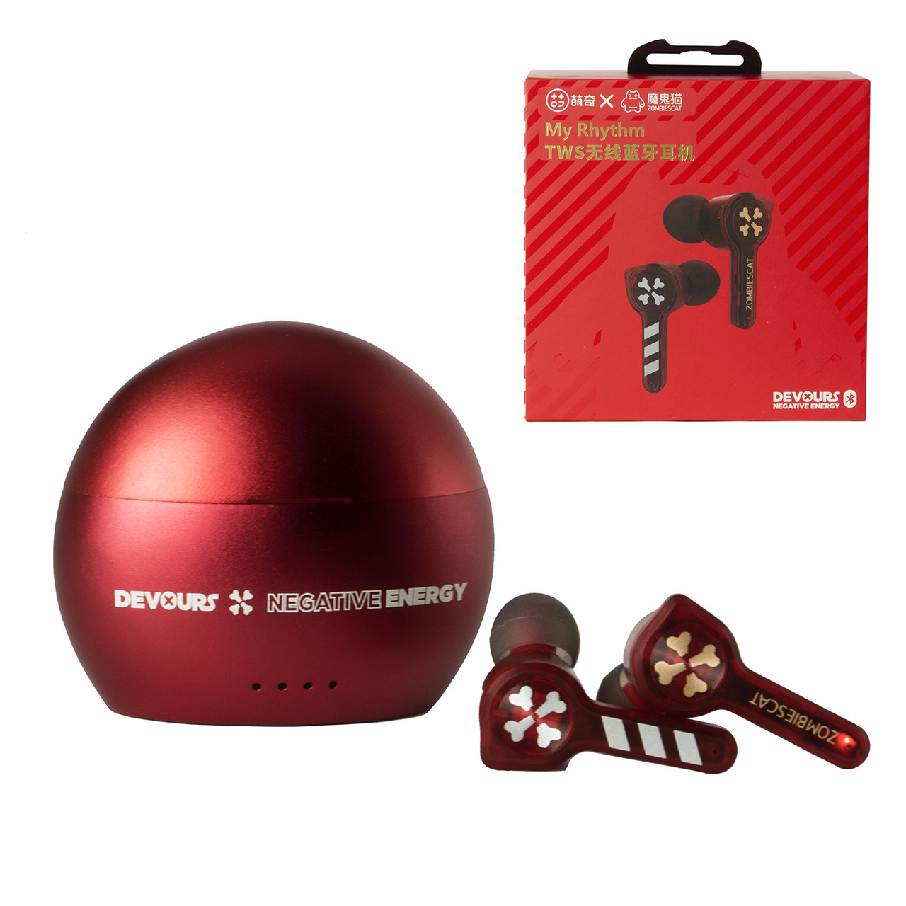 Bluetooth Гарнитура Senmai Zombies Cat TWS ZCT2, Red