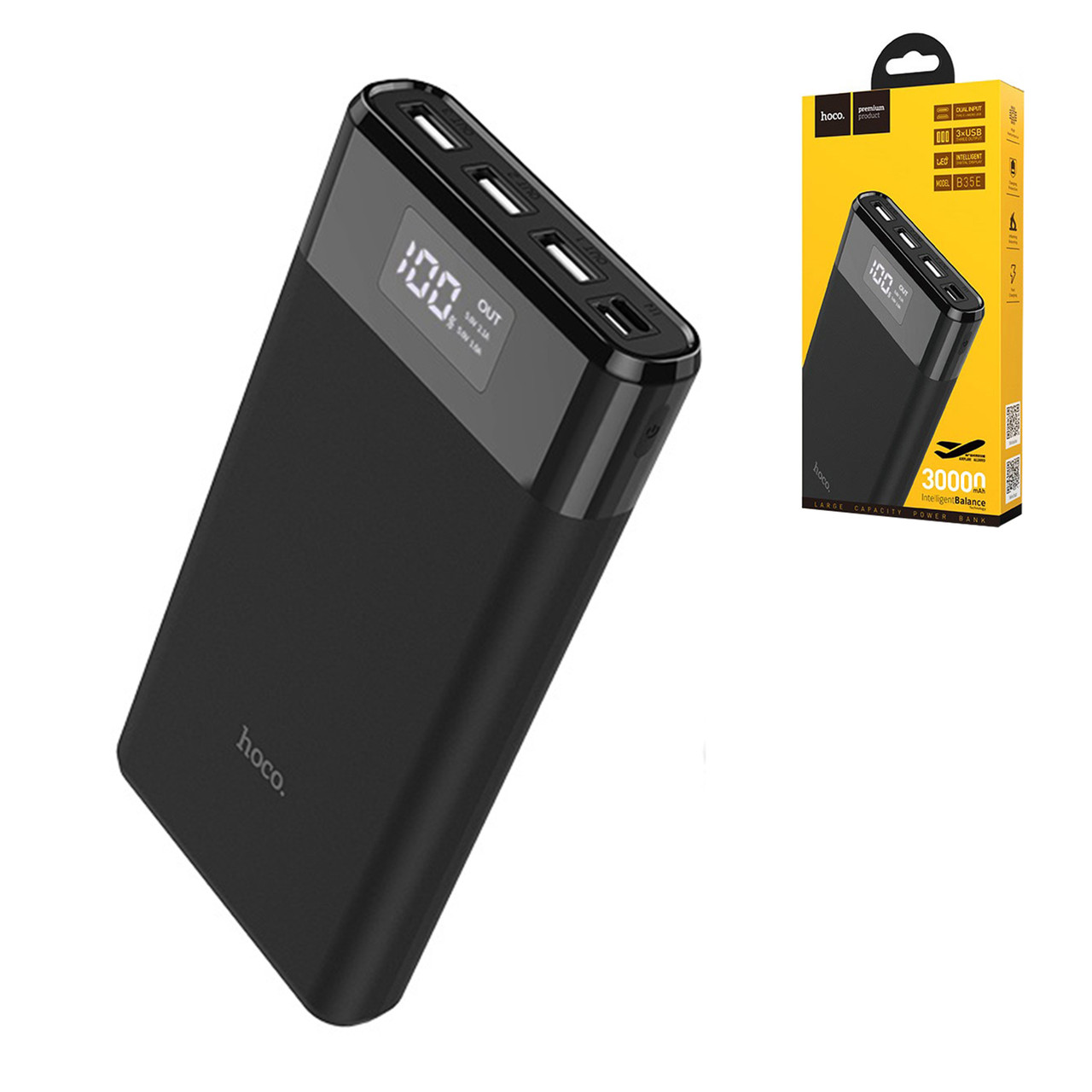 Power bank Hoco B35E 30000mAh 3XUSB-2.0A, Black
