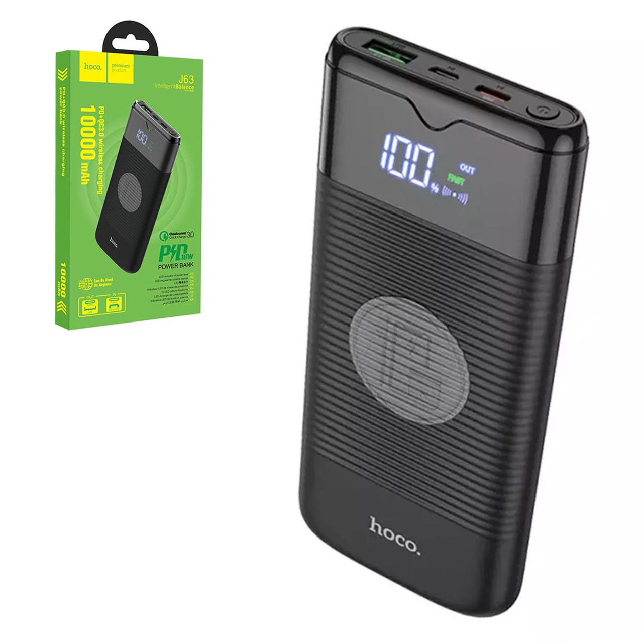 Power bank Hoco J63 Wireless 10000mAh 2XUSB PD 18W QC 3.0, Black