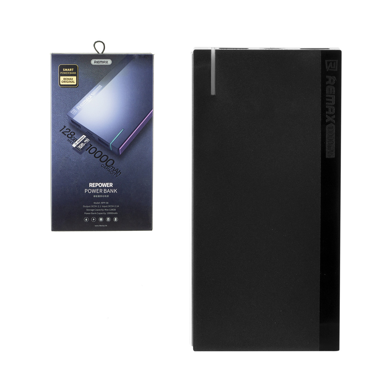 Power bank Remax RPP-58 10000mAh 2XUSB micro SD card slot Black