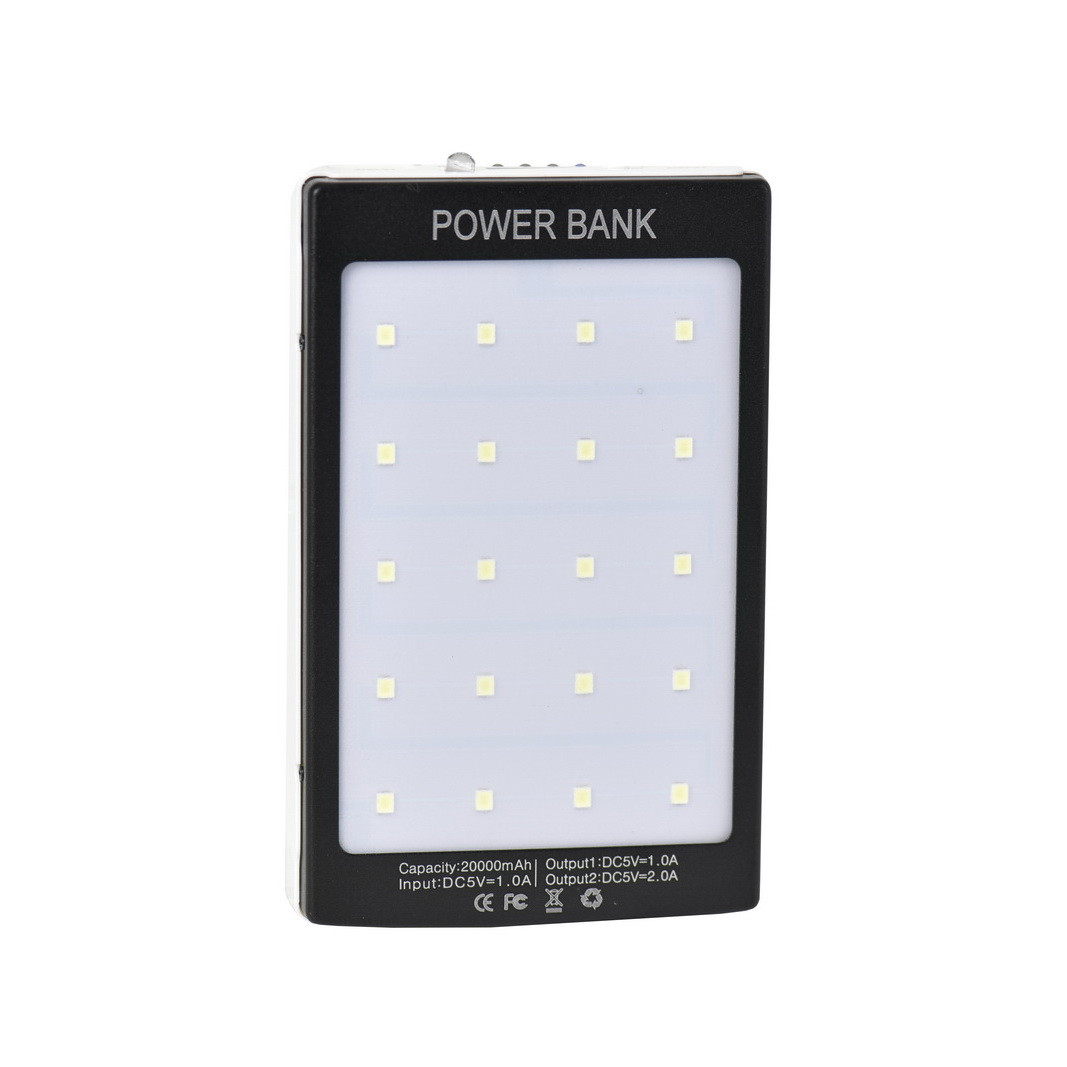 Power bank Solar battery 20000 mAh 2XUSB Black/White