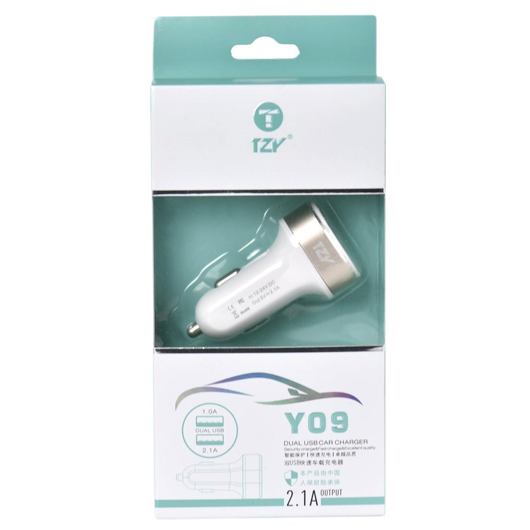 Автомобильное зарядное устройство TZY- Y09 2.1A - 1.0A 2XUSB White/Gold