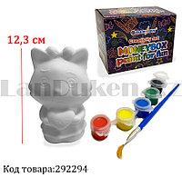 Набор для детского творчества копилка раскраска Кошка с бантиком, кисточка и краски 6 цветов