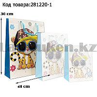 Пакет подарочный L(30х41) 3D иллюстрация для детей с блестками белого цвета с тигренком