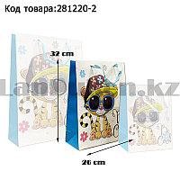 Пакет подарочный M(26х32) 3D иллюстрация для детей с блестками белого цвета с тигренком