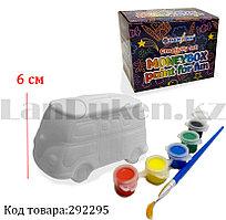 Набор для детского творчества копилка раскраска Машинка, кисточка и краски 6 цветов