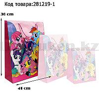 Пакет подарочный L(30х41) для детей из серии My little pony на шнуровке розового цвета с пони