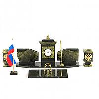 Настольный набор с символикой России камень змеевик