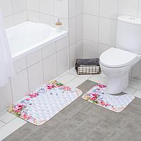 Набор ковриков для ванны и туалета «Рай», 2 шт: 79×49, 49×38 см