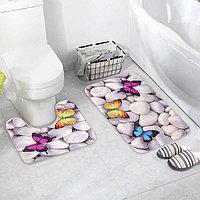Набор ковриков для ванны и туалета Доляна «Камни», 2 шт: 40×50, 50×80 см, цвет белый