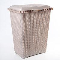 Корзина для белья Альтернатива «Вязаное плетение», 25 л, 37×27,5×46,5 см, цвет бежевый