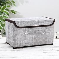 Короб для хранения с крышкой «Ронда», 26×20,5×16 см, цвет серый