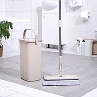 Набор для уборки Mop Style: ведро с отсеками для полоскания и отжима 5 л, швабра плоская, запасная насадка из