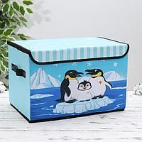 Короб для хранения с крышкой «Пингвины», 39×25×23,5 см