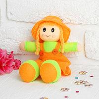 Мягкая игрушка «Кукла с хвостиками», в сарафане, полосатой кофте, цвета МИКС