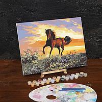 Картина по номерам на холсте с подрамником «Грациозный бег коня», 40х30 см