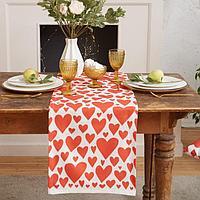 """Дорожка на стол """"Этель"""" Red hearts 40х149см, 100% хл, саржа 190 г/м2"""